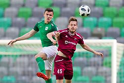 Filip Uremovic of NK Olimpija Ljubljana and Igor Bukara of NK Triglav Kranj during football match between NK Olimpija Ljubljana and NK Triglav Kranj in Round #31 of Prva liga Telekom Slovenije 2017/18, on May 6, 2018 in SRC Stozice, Ljubljana, Slovenia. Photo by Urban Urbanc / Sportida