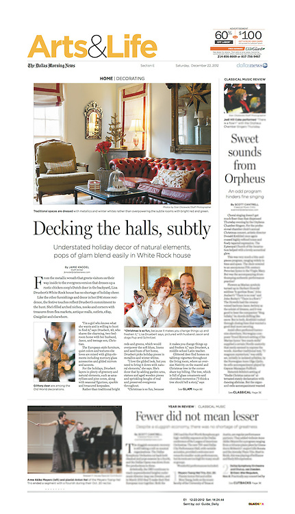 The Dallas Morning News -Arts & Life, E1, December 22, 2012.