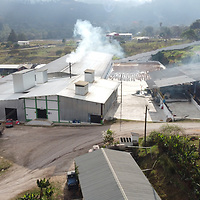 Aerial shot of the COMSA coop in Marcala, La Paz, Honduras, showing the laboratory, drying patios, processing area and warehouses.
