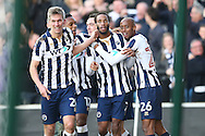 Shaun Cummings of Millwall (2nd right) celebrates with his teammates after scoring his sides 1st goal to make it 1-0. The Emirates FA Cup 5th round match, Millwall v Leicester City at The Den in London on Saturday 18th February 2017.<br /> pic by John Patrick Fletcher, Andrew Orchard sports photography.