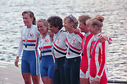 Tampere Kaukajaervi,  FINLAND.   Women's Lightweight  Pair. Centre Gold Medalist USA LW2- Christine SMITH - COLLINS, Ellen MINZNER. Left Silver medalist,  GBRLW2- Alison BROWNLESS , Jane HALL<br /> Right Bronze Medalist. DEN LW2-. Kristine JOERGENSEN , Sharon THILGREEN, Awards Dock. 1995 World Rowing Championships - Lake Tampere, 08.1995<br /> <br /> [Mandatory Credit; Peter Spurrier/Intersport-images] Re-Edited and file ref No. updated, 16th January 2021.