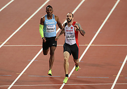 Turkey's Ramil Guliyev (right) wins the Men's 200m final ahead of Botswana's Isaac Makwala during day seven of the 2017 IAAF World Championships at the London Stadium.