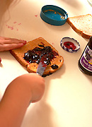 Girl age 5 making peanut butter and jelly sandwich.  WesternSprings  Illinois USA