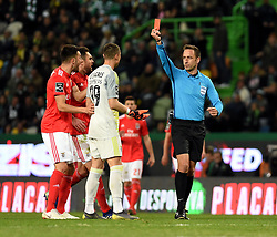 LISBON, Feb. 4, 2019  Goalkeeper Odysseas Vlachodimos (2nd R) of Benfica is given a red card during the Portuguese League soccer match between SL Benfica and Sporting CP in Lisbon, Portugal, Feb. 3, 2019. Benfica won 4-2. (Credit Image: © Xinhua via ZUMA Wire)
