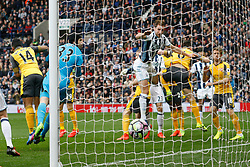 18 March 2017 Premier League Football : West Bromwich Albion v Arsenal :<br /> Craig Dawson heads the opening goal for Albion.<br /> Photo: Mark Leech