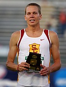Jesse Williams of USC on the awards podium after winning the high jump at 7-7 1/4 (2.32m) at the NCAA Track & Field Championships at Sacramento State's Hornet Stadium in Sacramento, Calif. on Friday, June 9, 2006.