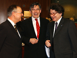 BRUSSELS, BELGIUM - MARCH-08-2005 - Left to Right - Hans Eichel, Finance Minister of Germany, Gordon Brown, Finance Minister of UK and Thierry Breton, Finance Minister of France, share a laugh during ECOFIN, a gathering of all the European Union  economic and finance ministers.