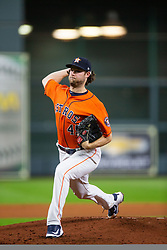 April 13, 2018 - Houston, TX, U.S. - HOUSTON, TX - APRIL 13: Houston Astros starting pitcher Gerrit Cole (45) delivers the pitch in the fourth inning during an MLB game between the Houston Astros and the Texas Rangers on April 13, 2018 at Minute Maid Park in Houston, TX.. (Photo by Juan DeLeon/Icon Sportswire) (Credit Image: © Juan Deleon/Icon SMI via ZUMA Press)