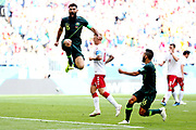 Mile Jedinak of Australia celebrates after scoring a goal against Denmark during the 2018 FIFA World Cup Russia group C match between Denmark and Australia at Samara Arena on June 21, 2018 in Samara, Russia.