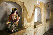 An image of the goddess Durga in a derelict corner of the cenotaph of a Maharajahs at the Royal Gaitor (Gatore ki Chhatryan), Jaipur, India