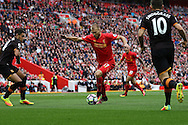 Ragnar Klavan of Liverpool runs at the Hull defence. Premier League match, Liverpool v Hull City at the Anfield stadium in Liverpool, Merseyside on Saturday 24th September 2016.<br /> pic by Chris Stading, Andrew Orchard sports photography.