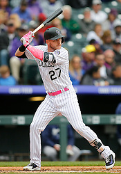May 13, 2018 - Denver, CO, U.S. - DENVER, CO - MAY 13: Colorado Rockies infielder Trevor Story (27) bats during a regular season MLB game between the Colorado Rockies and the visiting Milwaukee Brewers on May 13, 2018 at Coors Field in Denver, CO. (Photo by Russell Lansford/Icon Sportswire) (Credit Image: © Russell Lansford/Icon SMI via ZUMA Press)