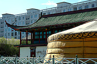 Variety of styles of architecture in Mongolia, ranging from 'ger' nomadic tent to Soviet-style apartment block, with Tibetan influenced temple in between.