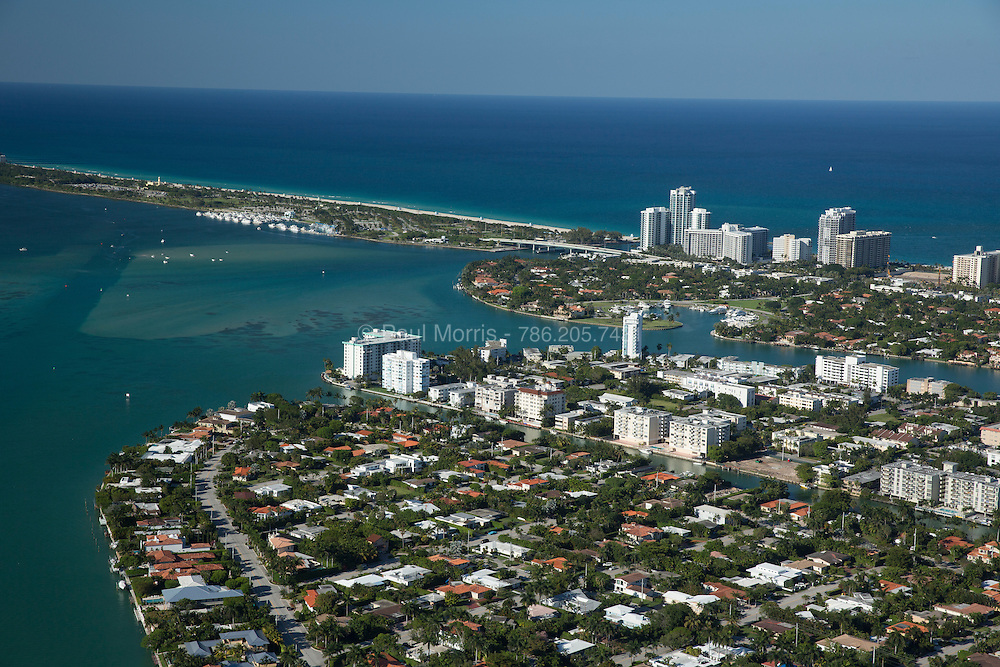 Aerial view of Bay Harbor Islands, Miami Beach, Florida.