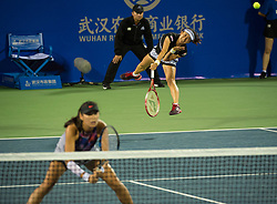 WUHAN, Sept. 28, 2017 Shuko Aoyama (R) of Japan and Yang Zhaoxuan of China compete during the doubles quarterfinal match against Ekaterina Makarova and Elena Vesnina of Russia at 2017 WTA Wuhan Open in Wuhan, capital of central China's Hubei Province, on Sept. 28, 2017. Ekaterina Makarova and Elena Vesnina retired in the first set.  wll) (Credit Image: © Mao Siqian/Xinhua via ZUMA Wire)
