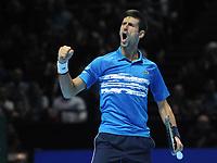 Tennis - 2019 Nitto ATP Finals at The O2 - Day Three<br /> <br /> Singles Group Bjorn Borg: Novak Djokovic (Serbia) vs.Domininic Thiem (Austria)<br /> <br /> Novak Djokovic celebrates his first set<br /> <br /> COLORSPORT/ANDREW COWIE