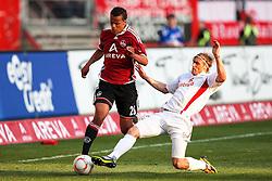 24.04.2011, easy Credit Stadion, Nuernberg, GER, 1.FBL, 1. FC Nuernberg / Nürnberg vs 1. FSV Mainz 05, im Bild:.Timothy Chandler (Nuernberg #26) gg Marcel Risse (Mainz #23).EXPA Pictures © 2011, PhotoCredit: EXPA/ nph/  Will       ****** out of GER / SWE / CRO  / BEL ******