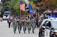 Enthusiastic crowds turned out on a cool gray Tuesday afternoon in Salinas for the annual Monterey County Veterans Day Parade, now in its fourth incarnation. Veterans of every stripe enjoyed the support of citizens waving flags and cheering their progress along the Main Street parade route from Salinas High to Gabilan Street.