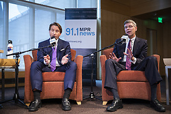 October 5, 2018 - St. Paul, MN, USA - Rep. Erik Paulsen, right, and his Democrat challenger Dean Phillips both speak during their debate. ] LEILA NAVIDI • leila.navidi@startribune.com ....BACKGROUND INFORMATION: Rep. Erik Paulsen and his Democrat challenger Dean Phillips meet in a debate moderated by MPR political editor Mike Mulcahy at MPR News in St. Paul on Friday, October 5, 2018. (Credit Image: © Leila Navidi/Minneapolis Star Tribune via ZUMA Wire)