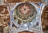 """Pictures & imagse of the interior cupola frescoes of the Timotesubani medieval Orthodox monastery Church of the Holy Dormition (Assumption), dedcated to the Virgin Mary, 1184-1213, Samtskhe-Javakheti region, Georgia (country).<br /> <br /> Built during the reigh of Queen Tamar during the """"Golden Age of Georgia"""", Timotesubani Church of the Holy Dormition is one of the most important examples of medieval Georgian architecture and art. <br /> <br /> The interior frescoes of date from the 11th - 13th century so the Timotesubani church of the Dormition is a treasure trove of medieval Georgian art created during the reign of Queen Tamar. The fresco murals have been rescued and preserved by the Global Fund of Cultural Heritage. .<br /> <br /> Visit our MEDIEVAL PHOTO COLLECTIONS for more   photos  to download or buy as prints https://funkystock.photoshelter.com/gallery-collection/Medieval-Middle-Ages-Historic-Places-Arcaeological-Sites-Pictures-Images-of/C0000B5ZA54_WD0s<br /> <br /> Visit our REPUBLIC of GEORGIA HISTORIC PLACES PHOTO COLLECTIONS for more photos to browse, download or buy as wall art prints https://funkystock.photoshelter.com/gallery-collection/Pictures-Images-of-Georgia-Country-Historic-Landmark-Places-Museum-Antiquities/C0000c1oD9eVkh9c"""