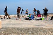 Video production shoot on coast near El Cotillo, Fuerteventura, Canary Islands, Spain