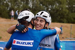 Elisa Balsamo (ITA) celebrate the win with her team at the 2020 UEC Road European Championships - Under 23 Women Road Race, a 81.9 km road race in Plouay, France on August 26, 2020. Photo by Sean Robinson/velofocus.com
