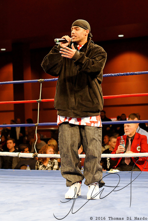 Rappers perform between boxing matches at the Meidenbauer Center in Bellevue, WA on December 13, 2008.