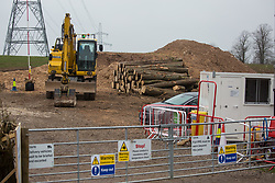 Wendover, UK. 18th March, 2021. A pile of logs from woodland felled by HS2 contractors alongside Small Dean Lane is pictured in a HS2 compound. Considerable preparatory work of this type is currently taking place between Great Missenden and Wendover to the north of the Chiltern tunnel section of the £106bn HS2 high-speed rail link.