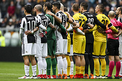 March 11, 2018 - Turin, Italy - Juventus team and Udinese team stand together in memory of Davide Astori before the Serie A football match n.28 JUVENTUS - UDINESE on 11/03/2018 at the Allianz Stadium in Turin, Italy. (Credit Image: © Matteo Bottanelli/NurPhoto via ZUMA Press)