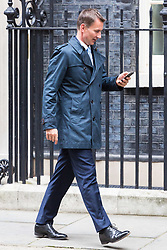 London, October 17 2017. Health Secretary Jeremy Hunt leaves the UK cabinet meeting at Downing Street. © Paul Davey