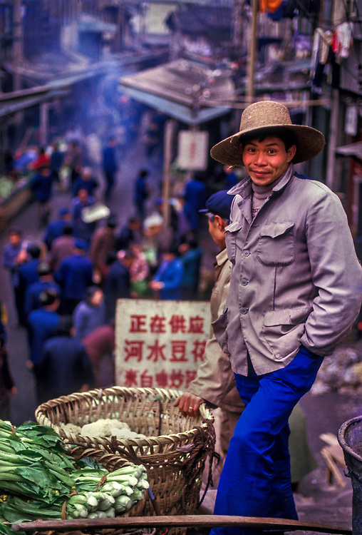 Market vendor, Chengdu market, Sichuan. 1988