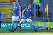 Goal Joe Thompson celebrates scoring 1-0  during the EFL Sky Bet League 1 match between Rochdale and Charlton Athletic at Spotland, Rochdale, England on 5 May 2018. Picture by Daniel Youngs.