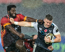 Scott Williams of Ospreys under pressure from Luphumlo Mguca of Southern Kings<br /> <br /> Photographer Simon King/Replay Images<br /> <br /> Guinness PRO14 Round 6 - Ospreys v Southern Kings - Saturday 9th November 2019 - Liberty Stadium - Swansea<br /> <br /> World Copyright © Replay Images . All rights reserved. info@replayimages.co.uk - http://replayimages.co.uk