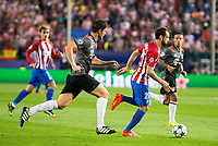 Atletico de Madrid's player Juanfran Torres and Bayern Munich's player Xavi Alonso and Thiago Alcantara during match of UEFA Champions League at Vicente Calderon Stadium in Madrid. September 28, Spain. 2016. (ALTERPHOTOS/BorjaB.Hojas)