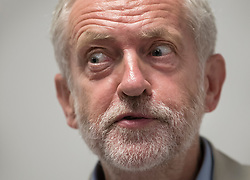 © Licensed to London News Pictures. 24/08/2016. London, UK. Labour party leader Jeremy Corbyn answers journalists questions after speaking on NHS issues. Mr Corbyn faces increasing criticism after appearingng in a video sitting on the floor of a crowded train.  Virgin trains owner Sir Richard Branson released cctv footage appearing to show that seats were available. Photo credit: Peter Macdiarmid/LNP
