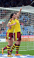 Sam Vokes (r) of Burnley celebrates his goal during the Sky Bet Championship match at the John Smiths Stadium, Huddersfield<br /> Picture by Graham Crowther/Focus Images Ltd +44 7763 140036<br /> 12/03/2016