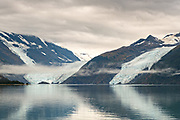 View of Barry, left, and Coxe glaciers in Barry Arm in Harriman Fjord, Prince William Sound near Whittier, Alaska.