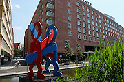 Berlino: a sculpure by Keith Haring in front of Hyatt Hotel near Potsdamer Platz