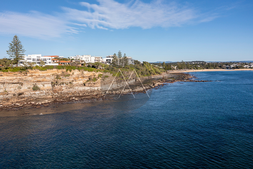Aerial view of beautiful Moffat Head and Moffat Beach without people, Caloundra, Sunshine Coast, Queensland, Australia.