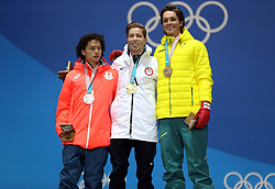 Men's halfpipe medalist from left, Japan's Ayumu Hirano, silver, United States' Shaun White, gold, and Australia's Scotty James, bronze, pose during their medals ceremony on day five of the PyeongChang 2018 Winter Olympic Games in South Korea. PRESS ASSOCIATION Photo. Picture date: Wednesday February 14, 2018. See PA story OLYMPICS Snowboard Halfpipe. Photo credit should read: Mike Egerton/PA Wire. RESTRICTIONS: Editorial use only. No commercial use.