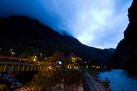 Inca Terra Hotel in Aguas Calientes. Aguas Calientes is a town in Peru on the Urubamba (Vilcanota) River. It is the closest access point to the sacred Incan city of Machu Picchu which is 6 kilometers away. The town has natural hot springs, which give its name (hot waters in Spanish).