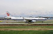 Air China Airbus A330-243, passenger jet landing at Linate airport, Milan, Italy