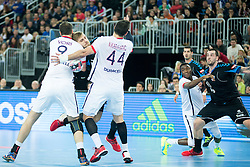 Igor Vori #9 of Paris Sant-Germain and Tonci Valcic #24 of PPD Zagreb during handball match between PPD Zagreb (CRO) and Paris Saint-Germain (FRA) in 11th Round of Group Phase of EHF Champions League 2015/16, on February 10, 2016 in Arena Zagreb, Zagreb, Croatia. Photo by Urban Urbanc / Sportida