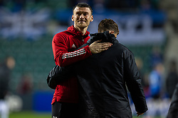TALLINN, ESTONIA - Monday, October 11, 2021: Wales' Kieffer Moore after the FIFA World Cup Qatar 2022 Qualifying Group E match between Estonia and Wales at at the A. Le Coq Arena. Wales won 1-0. (Pic by David Rawcliffe/Propaganda)
