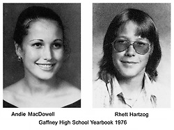 Jul 27, 2001; Gaffney, South Carolina, USA; Gaffney High School yearbook photos from 1976 of actress ANDIE MACDOWELL and fiance RHETT HARTZOG. 25 years after they were school friend they are to be married November 4..  (Credit Image: Brian Strickland/ZUMAPRESS.com)