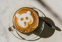 Cappuccino, Makaron Restaurant, Majeka House Hotel, Stellenbosch, Cape Winelands, South Africa.