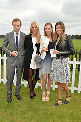Left to right, The EARL OF MEDINA,  INGA IBERG HANSTVEIT, LADY TATIANA MOUNTBATTEN and LOUISA WENTWORTH-STANLEY at the Cartier Queen's Cup Polo final at Guard's Polo Club, Smiths Lawn, Windsor Great Park, Egham, Surrey on 14th June 2015