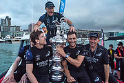 Emirates Team New Zealand, Dan Bernisconi, Peter Burling, Glen Ashby, Blair Tuke and Ray Davies with the Americas Cup After beating Luna Rossa Prada Pirelli Team 7 - 3.  Wednesday the 17th of March 2021. Copyright photo: Chris Cameron