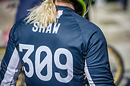 #309 (SHAW Mikalyn) USA during practice at Round 5 of the 2018 UCI BMX Superscross World Cup in Zolder, Belgium