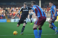 Michael Smith of Barnsley FC kicks ball forward during the Sky Bet League 1 match between Scunthorpe United and Barnsley at Glanford Park, Scunthorpe, England on 31 October 2015. Photo by Ian Lyall.